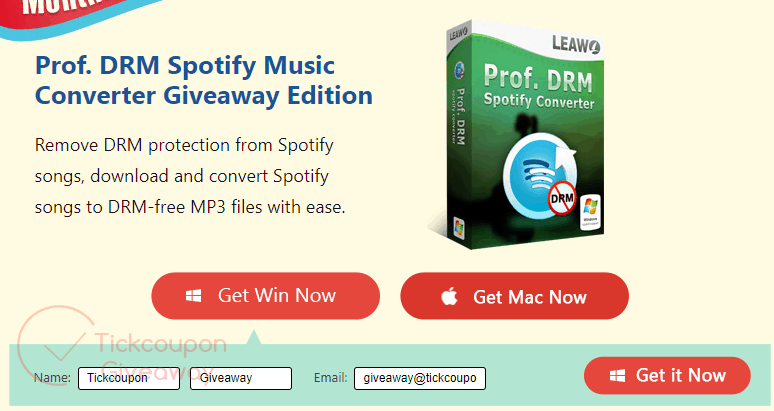 Prof. DRM Spotify Music Converter Giveaway Page