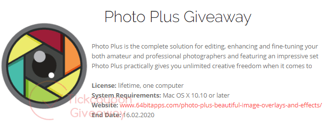 64bitapps Photo Plus Giveaway